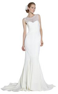 Nicole Miller Bridal Antique White Silk Lily / Lq1000 Formal Wedding Dress Size 6 (S)