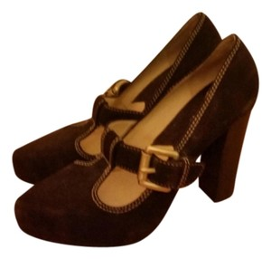 Michael Kors Suede Hidden Platform Platform Buckle Brown Pumps