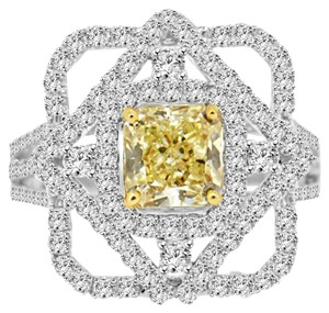 Avi and Co 3.20 cttw Fancy Yellow Radiant Cut Diamond Halo Engagement Ring 18k White Gold