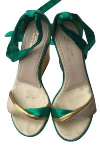 Sergio Rossi Wedges Silk Green and gold Platforms