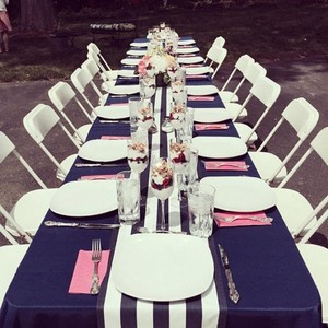 4 Navy White Stripe Table Runners Wedding Event Party Decor Banquet