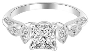 Avi and Co 2.76 cttw Princess Cut Diamond Antique Style Engagement Ring 18K White Gold