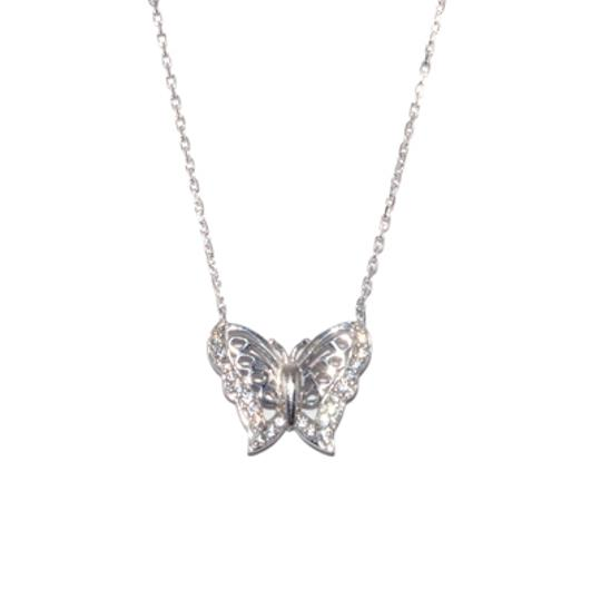 "Adrienne Landau Landau Sterling Silver Necklace Style: 413020783004 Pave Accented Butterfly Length: 18"" with box"