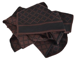 Gucci New Gucci 347965 Men's Wool Diamante Reversible Brown and Black Scarf Muffler