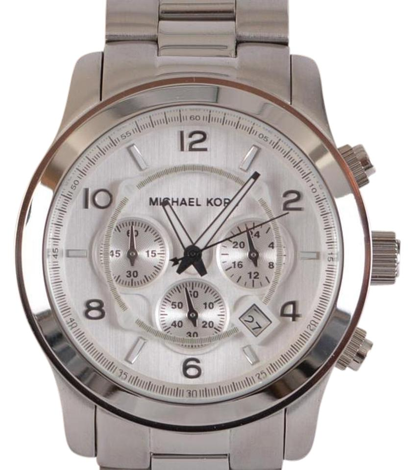 b254a07206ab Michael Kors NEW Michael Kors MK8086  275 Men s Runway Stainless Steel  Silver-Tone Watch Image ...