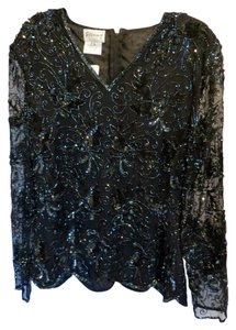 Other Evening Beaded Sequence Silk Petite Top Black