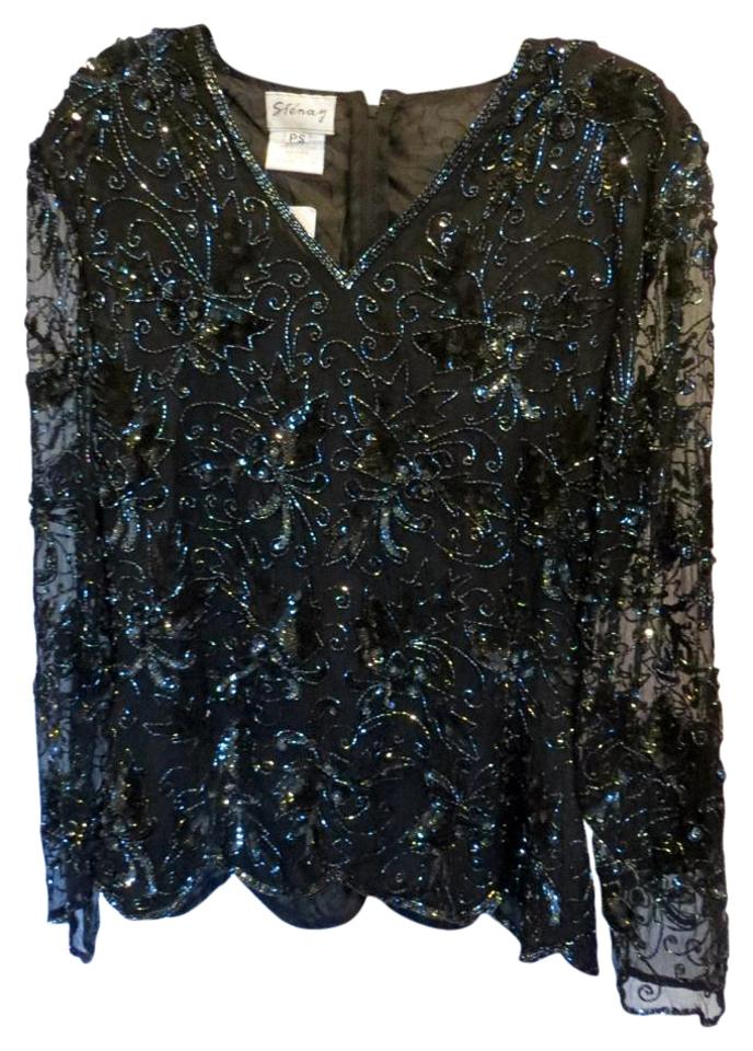 1885cb5f5d55d Other Evening Beaded Sequence Silk Petite Top Black Image 0 ...