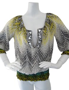 Calypso St. Barth St. Silk Beaded New With Tags Top Yellow Black & White