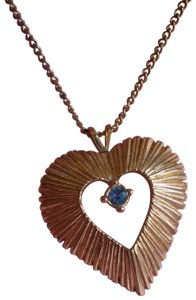 Other Like new goldtone heart w/aquamarine birthstone necklace