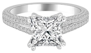 Avi and Co 3.76 cttw EGL Certified Princess Diamond Pave Engagement Ring 18K White Gold