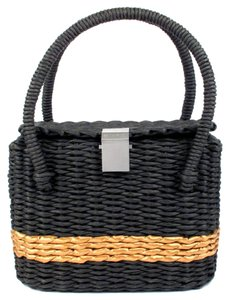 Chanel Straw Raffia Basket Tote Leather Shoulder Bag