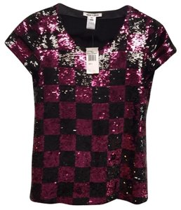 Alice + Olivia Sequin Party Prom Checkered Cocktail Top Magenta and Black