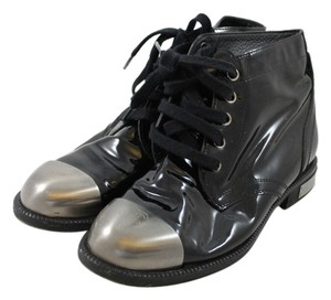Chanel Patent Leather Size Up Designer Penny Lane Black Boots
