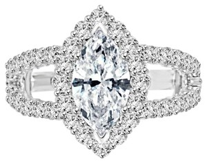 Avi and Co 4.00 cttw EGL Certified Marquise Cut Diamond Halo Engagement Ring 18K White Gold