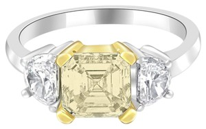 Avi and Co 2.70 cttw Fancy Yellow Asscher Engagement Ring Half Moon Side Stones Platinum