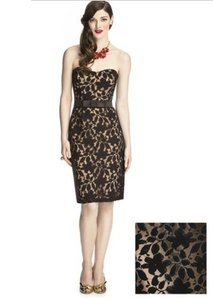 Dessy Length Strapless Lace Over Satin Dress