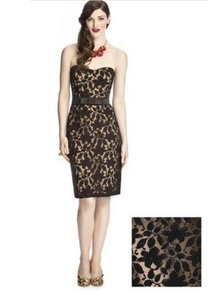 Dessy Cappuccino Black 5707 Knee Length Cocktail Dress Size 8 M