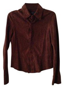 Earl Jean Suede Cowgirl Country Vintage Button Down Shirt Brown