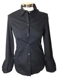 Miu Miu Fitted Stretchy Longsleeve Blouse Button Down Shirt Black