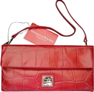 Dooney & Bourke Embossed Croc Cherry Leather Handbag Red Clutch