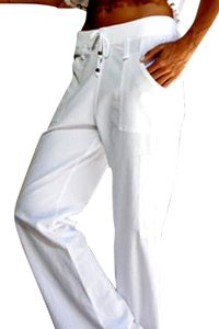 Lirome Bohemian Vacation Nautical Cottage Chic Summer Cargo Pants White
