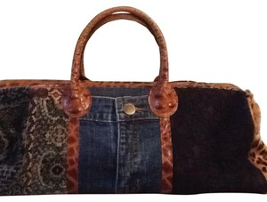 Clever Carriage Company Satchel in Blue Denim/brown Calfhair