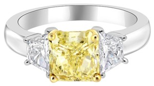 Avi and Co 2.92 cttw GIA Fancy Yellow Radiant Cut with Trapezoid Side Stones 18k White Gold