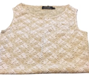 Tribal T Shirt Beige white lace
