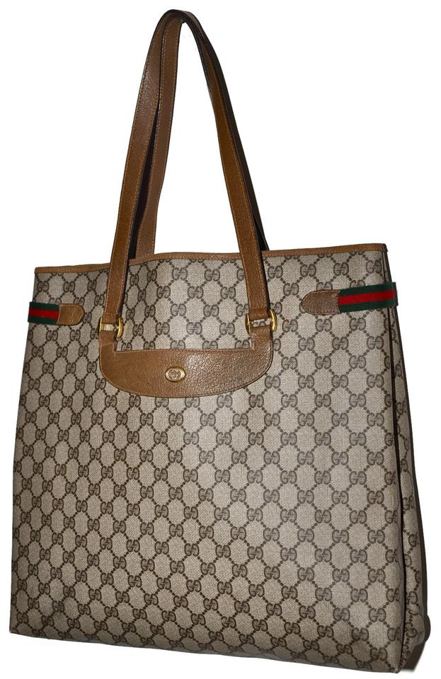 c1f122652bc Gucci Vintage Monogram Large Shopper Made In Italy Very Rare Brown Leather    Coated Canvas Tote