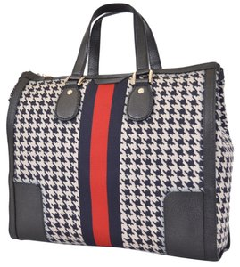 Gucci Houndstooth Web Tote Purse Satchel in Blue Multi