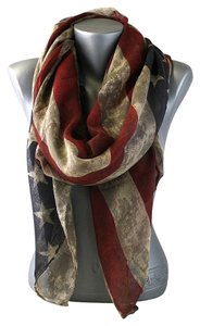 American Flag Vintage MultiColor Scarf - FREE RHINESTONE CRYSTAL AMERICAN FLAG BROACH PIN