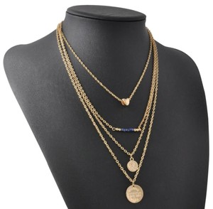 Women's Bohemian Style Fashion Jewelry Charm Bead Gold Three Layer Wave Chain Necklace