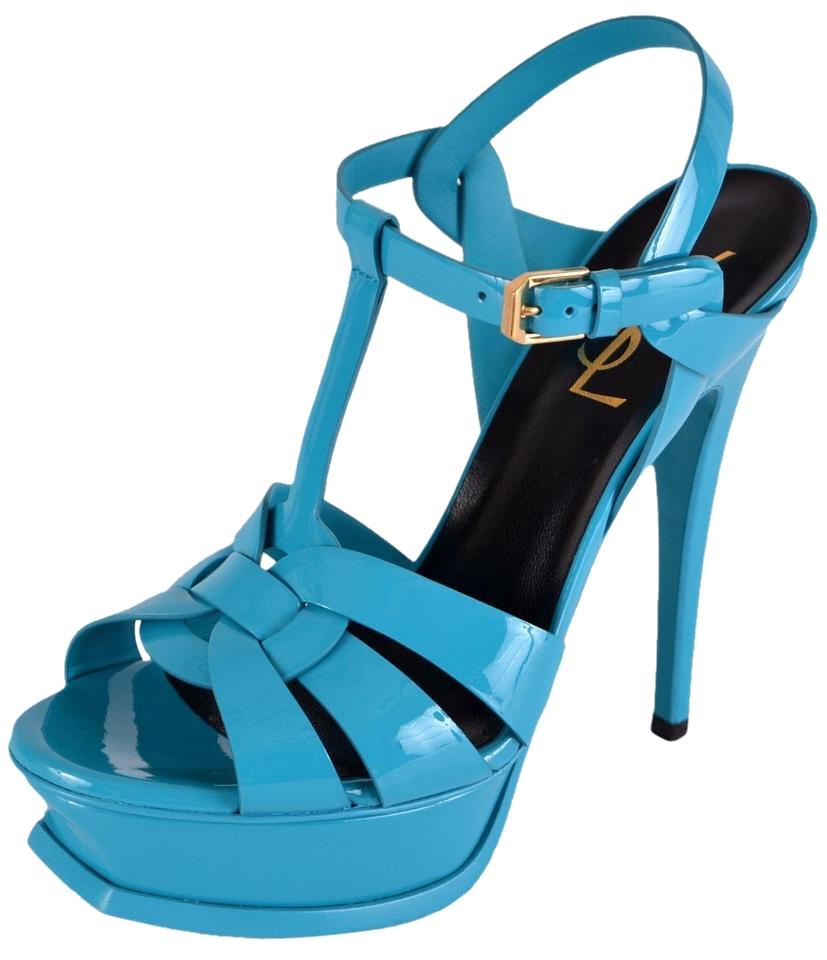 Saint Laurent Turquoise Tribute New Ysl Ysl New Patent Leather 105 Platform 38.5 Sandals 0379ae