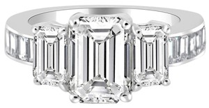 Avi and Co 6.86 cttw Emerald Cut Three Stone Diamond Engagement Ring 14K White Gold