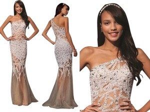 Jovani See Through Embellished Prom Long Formal Dress