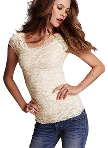 Victoria's Secret Lace Scoop Neck Casual Sexy T Shirt Pink
