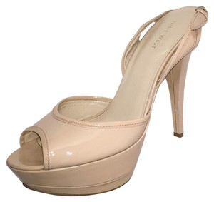 Nine West Heels Ankle Strap Platform Heels Padded Footbed Peep Toe Beige Sandals