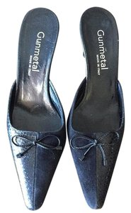 Gunmetal Pointy Toes Leather Suede Black Mules