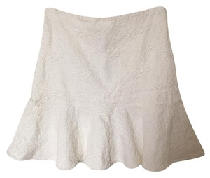 Alice + Olivia Woven Ruffle Pleated Mini Skirt Cream