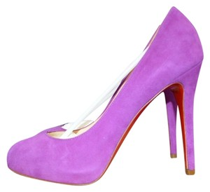 Christian Louboutin Declic Suede Heels Magenta Fuchsia 38 7.5 7 Red Soles Bottoms New Purple/ Red Pumps