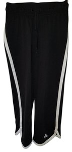 adidas Adida's black/white multi-sport cropped athletic pants - 100% Polyester