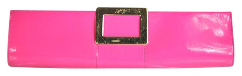 Roger Vivier Frame Hot Pink Patent Leather Clutch - Tradesy