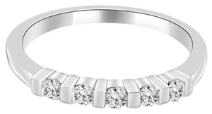 Avi and Co 0.28 cttw Round Brilliant Diamond Bar Channel Set Wedding Band 14K White Gold