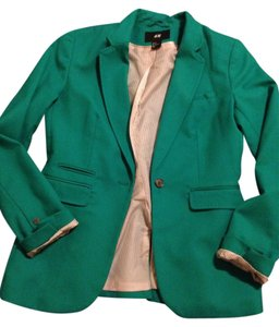 H&M Turquoise jacket with white & cream pinstripe lining