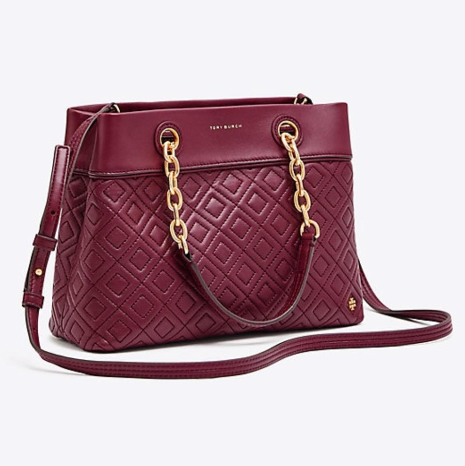 90a4c610c2f Tory Burch Fleming Small Imperial Garnet Leather Tote - Tradesy