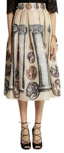 Dolce&Gabbana Coin Print Silk Midi Skirt Multi Color