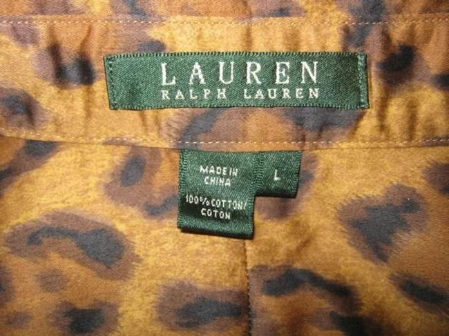 Lauren Ralph Lauren Shirt Animal Brown Top Leopard Print