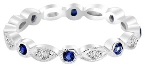 Avi and Co 0.40 cttw Round Diamond and Sapphire Antique Style Eternity Band 18K White Gold