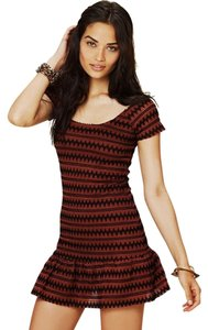 Free People short dress Copper and black Day Party Flounce on Tradesy