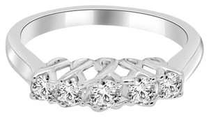 Avi and Co 0.50 cttw Round Diamond Five Stone Crossing Prong Wedding Band 14K White Gold